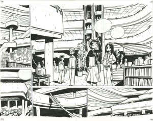 Scott Pilgrim original art of the Toronto Reference Library from The Beguiling